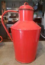 "Vintage Bonyhad Enamelware Metal Graniteware Pitcher Red Hungarian 16"""