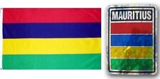 "Wholesale Combo Set Mauritius Country 3x5 3'x5' Flag and 3""x4"" Decal"
