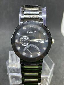 Bulova Men's Quartz Diamond Accent Black Bracelet Watch 98D109 #23