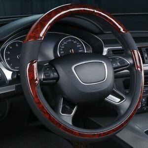 38cm/15'' Auto Car Steering Wheel Cover Protect Grain Faux Leather Non-slip Grip