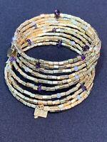 Vintage  Bohemian Amethyst Stone  Pearl Beaded Flex Wire Signed BP Bracelet