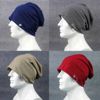 Men's Plain Metal Ring Cotton Slouchy Beanie Hat Casual Ski Oversized Cap Hats
