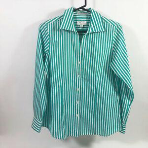 EUC Foxcroft Wrinkle Free White Green Striped Blouse Wms Small