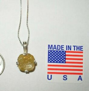 GOLD RUTILATED QUARTZ NECKLACE EARTHMINED 10MM GEM! US MADE PENDANT SILVER CHAIN