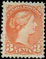 Canada #37 mint F-VF RG NH 1873 Queen Victoria 3c orange red Small Queen