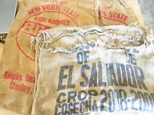 Three vintage burlap coffee bean, kidney bean bags, crafts,primitive sack