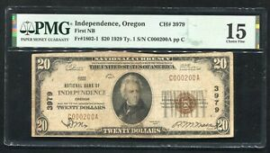 1929 $20 FIRST NB OF INDEPENDENCE, OR NATIONAL CURRENCY CH. #3979 PMG FINE-15