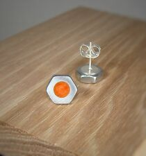 Silver Hex Nut Stud Earrings With Coral Orange Pearl Acrylic Inlay ~ Handmade