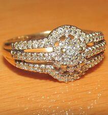 BELLISSIMO di seconda mano oro giallo 9 carati anello di banda di diamante Taglia s1/2
