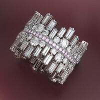 Sunshine Women Wedding Band Jewelry 925 Silver Pink/White Sapphire Rings Sz 6-10