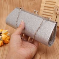 Women Glitter Sparkly Satin Evening Party Handbag Bridal Small Clutch Purse Bag