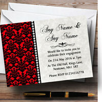 Deep Red Black Damask & Diamond Personalised Engagement Party Invitations