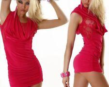 Miss Sexy Da Donna Cascata girly trendy mini abito pizzo Raff 34/36/38 ROSA NUOVO