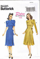 Vtg 40s Swan Neck Front Tuck Detail Waist Ties Dress Sewing Pattern 6 8 10 12 14