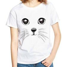 Women Ladies Summer 3D Cat Printed Casual T-Shirt Loose Short Sleeve Tops Blouse