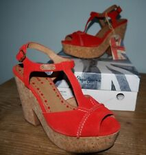Pepe Jeans red suede Dover T Bar wedge platforms 50s rockabilly- 6 BNIB