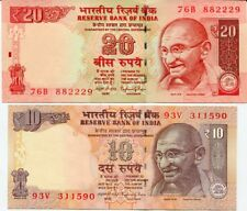 INDIA SET 2 PCS 10 20 RUPEES 2014 P 103 NEW SYMBOL UNC