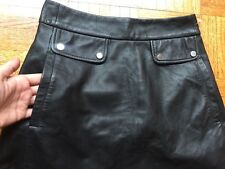 Zara Black Leather Mini skirt with Side Pockets Size XS Usa