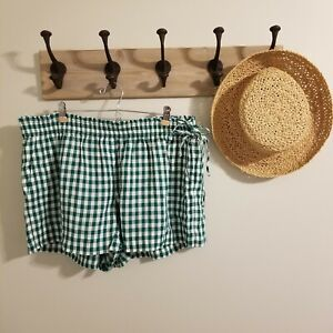 J Crew Linen Gingham Shorts XL Green White Checks Pull On Side Ties Excellent