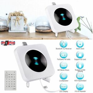 Portable CD Player with Bluetooth Wall Mountable Built-in HiFi Speakers Home UK
