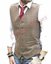 Mens Waistcoat Brown Tweed Herringbone Check Wool Blend  Vest Gilet - All Sizes