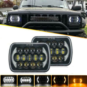 "210W 7x6"" 5X7"" LED Projector Headlight Hi-Lo Beam Halo DRL For Jeep Cherokee XJ"