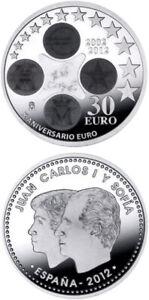PIECE 30 EURO COMMEMORATIVE ARGENT ESPAGNE 2012 10 ANS DE L'EURO SILVER SILBER