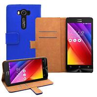 "Wallet BLUE Leather Flip Case Cover Pouch For Asus ZenFone 2 Laser ZE550KL 5.5"""
