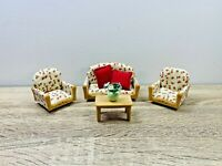 Sylvanian Families 3 Piece Suite Sofa Couch Living Room Coffee Table Set