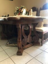 """Antique wood dinning table with 6 chairs, dark brown color 3'x7'x36"""""""