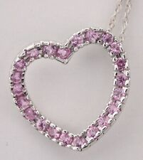 Pendant Pink Sapphire Heart with 14k white Gold Chain