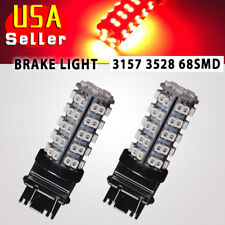 2x Pure Red Car 3157 3057 3457 4157 3047 68-SMD Tail Brake Stop LED Light Bulbs