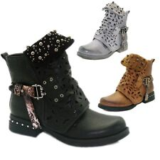 Women Studded Goth Zip Combat Ankle Boots Buckle Hollow Carved Tube Martin Shoes