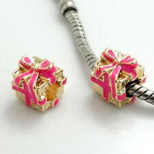 1pcs gold gift box CZ European Charm Beads Fit 925 Necklace Bracelet Chain #367