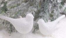 Gisela Graham Navidad cristal blanco IRID con Purpurina Pájaro Decoración x2