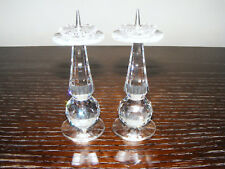 "Swarovski   Pair  Of   3.1/2"" Inch  Candlesticks   Retired  In  1989  Block Logo"