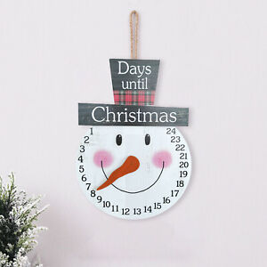 Christmas Wooden Advent Calendar Countdown to 24 Day Hanging Ornament Xmas Decor