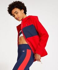 New Tommy Hilfiger Zip Up Hoodie Women's Fleece Red Flag Panel XS