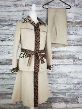 Vintage Lilli Ann Womens 3 Piece Suit Cream Leopard Trim Skirt Pant Blazer 1960s