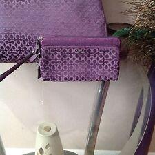 Coach Op Art Needlepoint Purple Wristlet