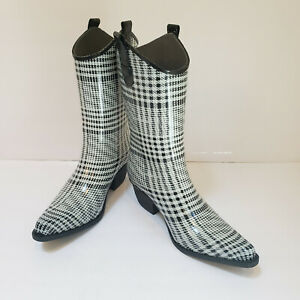 Daily Shoes Rubber COWBOY Style Rain Boots/Garden Women's Sz 8 Black/White