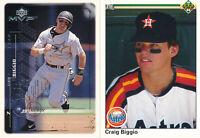 Craig Biggio lot of 2 Baseball different Cards Houston Astros Hall of Fame HOF