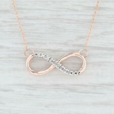 "Diamond Infinity Symbol Stationary Pendant Necklace 10k Rose Gold 18"" Rope Chain"