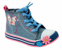 GIRLS DENIM FLORAL CANVAS LACE UP HIGH HI TOP TRAINERS SHOES UK SIZE 4-12