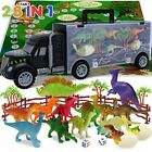 Dinosaur Toys for Kids 3-6 Years, 14 Pc Dino Toys Car Carrier w/Handle, Game Map