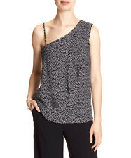 Banana Republic Women Print One-Shoulder Blouse Black & White, Sz M Medium NWT