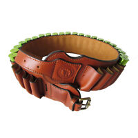 Tourbon Leather 12GA Shotgun Cartridges Belt Ammo Carrier Clay Shooting in Range