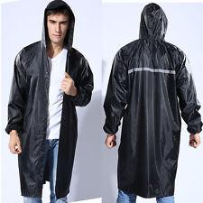 Mens Solid Long Sleeve Raincoat Hooded Coat Waterproof Windrpoof Jacket XL New