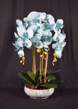 Medium Artificial Phalaenopsis Orchid Plants With Porcelain Pot Light-blue