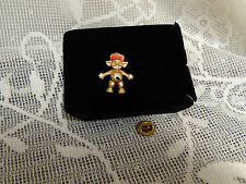 vintage troll doll metal pin  gold tone with red - orange hair nice condition
